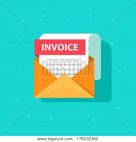 Invoice icon vector, email message received with bill document, flat style open envelope with invoice paper blank, billing letter illustration