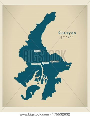 Modern Map - Guayas Ec Illustration Silhouette