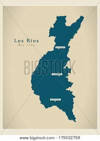 Modern Map - Los Rios Ec Illustration Silhouette