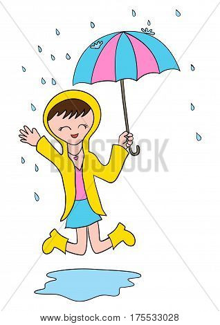 Cartoon illustration of a girl playing in the rain with umbrella