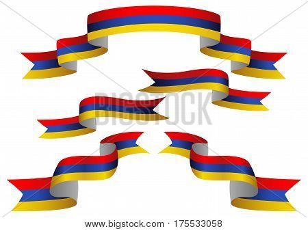 Set of Armenia insignia in different shape of ribbons