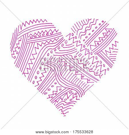 Love symbol with abstract pink pattern on white background hand draw