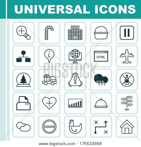 Set Of 25 Universal Editable Icons. Can Be Used For Web, Mobile And App Design. Includes Elements Such As Estate, Coding, Info Pointer And More.
