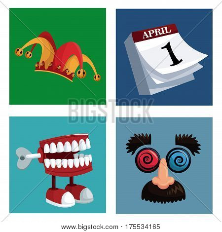 set april fools day icons vector illustration eps 10