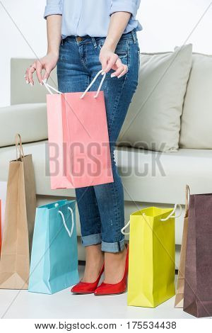 Partial view of young woman holding pink shopping bag