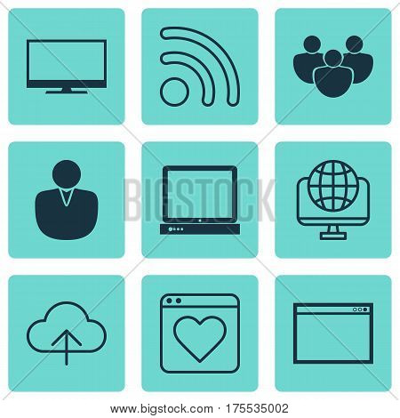 Set Of 9 Web Icons. Includes Data Synchronize, Account, Followed Website And Other Symbols. Beautiful Design Elements.