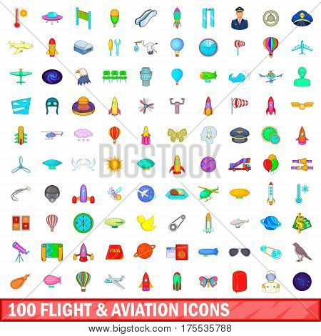 100 flight and aviation icons set in cartoon style for any design vector illustration
