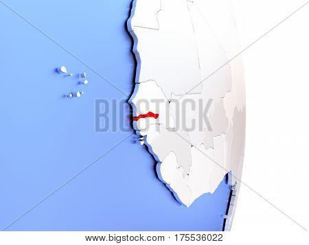 Gambia On Elegant Modern 3D Globe