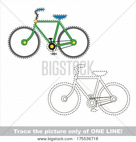 Bicycle to be traced only of one line, the tracing educational game to preschool kids with easy game level, the colorful and colorless version.