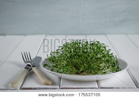 Garden cress on white plate with fork and knife.Healthy vegetarian food.Fresh herbs. On white table