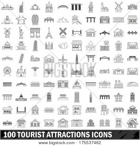 100 tourist attractions  icons set in outline style for any design vector illustration