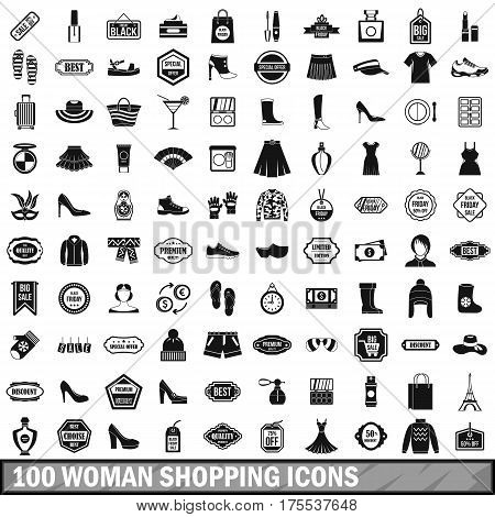 100 woman shopping icons set in simple style for any design vector illustration