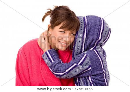 Mother and son dressed bathrobes isolated over white