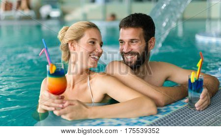Happy Couple Enjoying Spa Wellness Resort