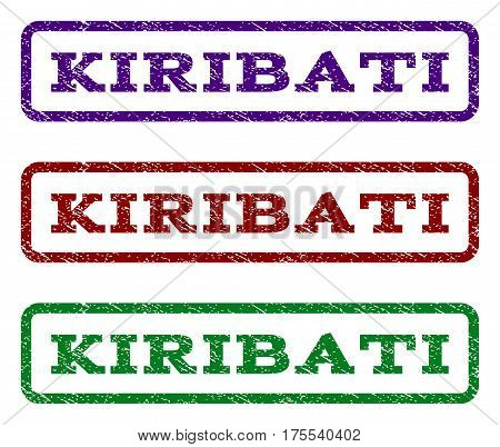 Kiribati watermark stamp. Text tag inside rounded rectangle with grunge design style. Vector variants are indigo blue, red, green ink colors. Rubber seal stamp with dirty texture.