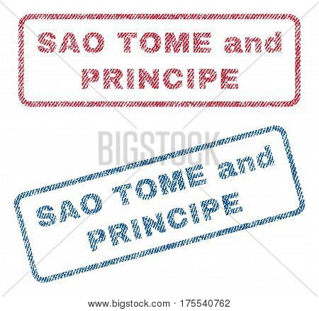 Sao Tome and Principe text textile seal stamp watermarks. Blue red fabric vectorized texture. Vector caption inside rounded rectangular banner. Rubber sticker with fiber textile structure.