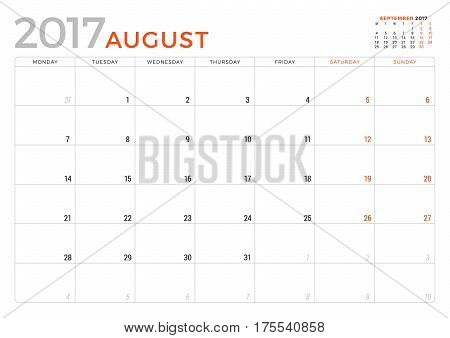 Calendar Planner For August 2017 Year. Vector Design Template. Week Starts Monday. Stationery Design