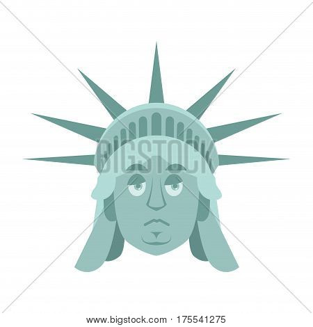 Statue Of Liberty Sad Emoji. Us Landmark Statue Face Sorrowful Emotion Isolated