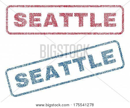 Seattle text textile seal stamp watermarks. Blue red fabric vectorized texture. Vector tag inside rounded rectangular banner. Rubber sign with fiber textile structure.