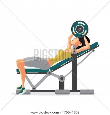 Young woman with barbell flexing muscles in gym. Flat cartoon isolated vector illustration