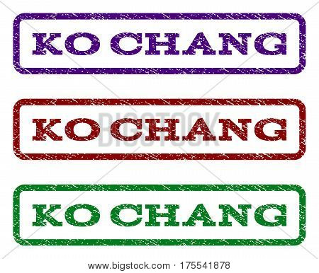 Ko Chang watermark stamp. Text caption inside rounded rectangle with grunge design style. Vector variants are indigo blue, red, green ink colors. Rubber seal stamp with scratched texture.