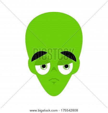 Ufo Sad Emoji. Green Alien Face Sorrowful Emotion. Martian Avatar