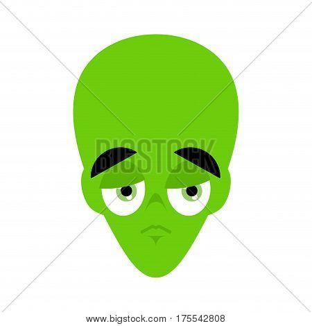 Ufo Sad Emoji. Green Alien Face Sorrowful Emotion. Martian Avatar