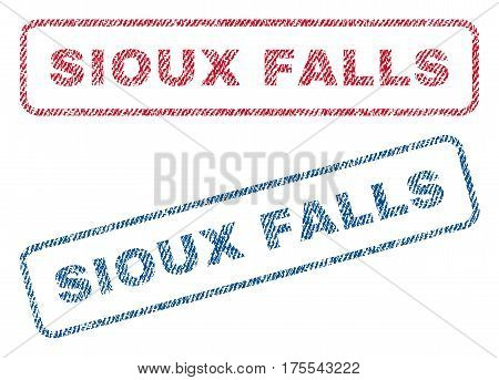 Sioux Falls text textile seal stamp watermarks. Blue red fabric vectorized texture. Vector tag inside rounded rectangular banner. Rubber sticker with fiber textile structure.