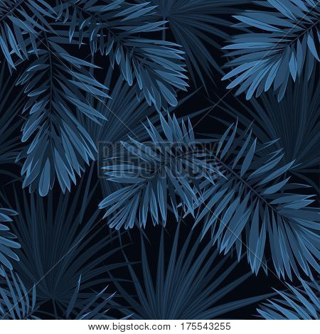 Blue indigo summer tropical camouflage with palm leaves. Seamless pattern. Vector illustration.