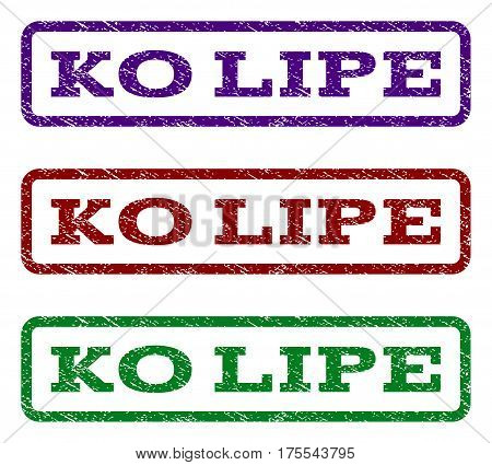 Ko Lipe watermark stamp. Text caption inside rounded rectangle with grunge design style. Vector variants are indigo blue, red, green ink colors. Rubber seal stamp with dust texture.
