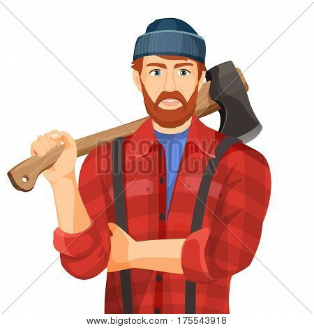 Axeman with wooden axe isolated on white background. Lumberman with element for woodworking or lumberjack. Woodcutter in hat and red shirt realistic vector illustration of man with metal ax on handle