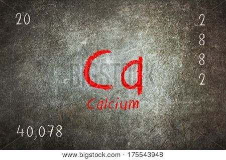 Isolated Blackboard With Periodic Table, Calcium
