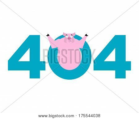 Error 404. Pig Surprise. Page Not Found Template For Web Site. Piggy Does Not Know And Is Surprised.