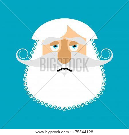 Old Man Sad Emoji. Senior With Gray Beard Face Sorrowful Emotion Isolated