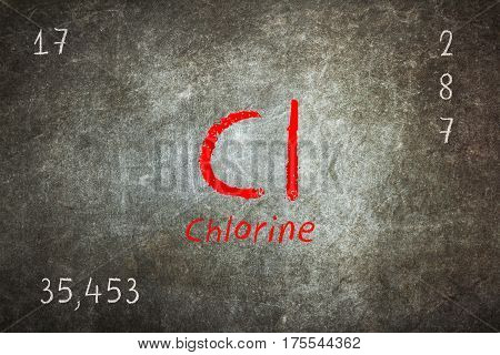 Isolated Blackboard With Periodic Table, Chlorine