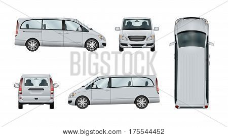 Family minivan vector template. Isolated van car on white backgroung. The ability to easily change the color. View from side back front and top. All sides in groups on separate layers.
