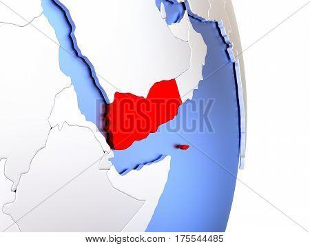Yemen On Elegant Modern 3D Globe