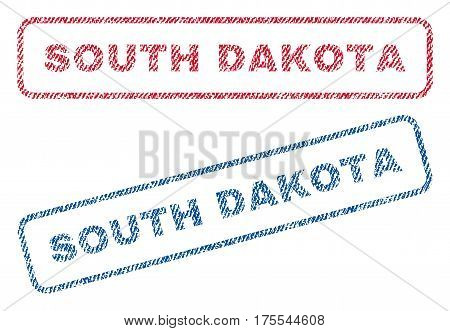 South Dakota text textile seal stamp watermarks. Blue red fabric vectorized texture. Vector caption inside rounded rectangular shape. Rubber sticker with fiber textile structure.