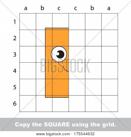 Finish the simmetry picture using grid sells, vector kid educational game for preschool kids, the drawing tutorial with easy gaming level for half of Orange Rectangle