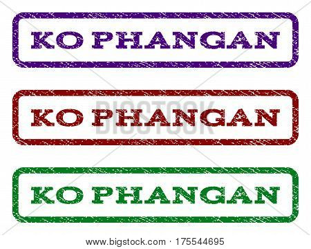 Ko Phangan watermark stamp. Text tag inside rounded rectangle with grunge design style. Vector variants are indigo blue, red, green ink colors. Rubber seal stamp with scratched texture.