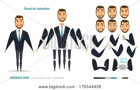 Businessman character animation and creation set. Man with phone, tablet, pointer. Parts of body for design you scene. Faces, emotions, clothes. Moving arms, legs. Cartoon boss or manager constructor