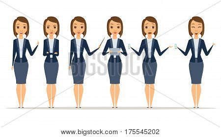 Set of businesswoman character poses and gestures. A woman smiles, laughs, gets angry, is surprised. Female secretary, boss or teacher holds a tablet, phone, pointer. Isolated vector illustration