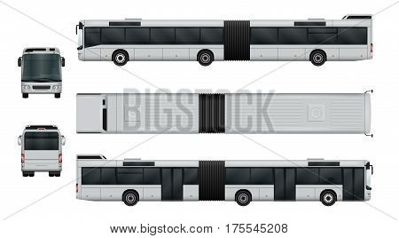 Articulated city bus vector illustration. Urban transport isolated on white. The ability to easily change the color. View from side back front and top. All sides in groups on separate layers.