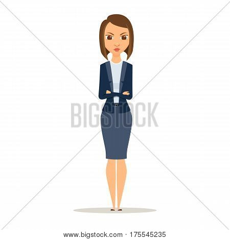Angry businesswoman with crossed arms. A woman is standing with hands folded. Manager, teacher, secretary or boss in a discontented position