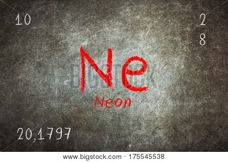 Isolated Blackboard With Periodic Table, Neon