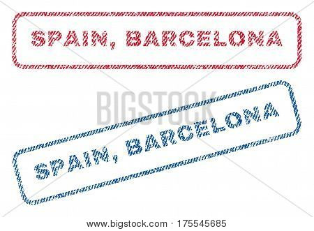 Spain Barcelona text textile seal stamp watermarks. Blue red fabric vectorized texture. Vector tag inside rounded rectangular banner. Rubber emblem with fiber textile structure.