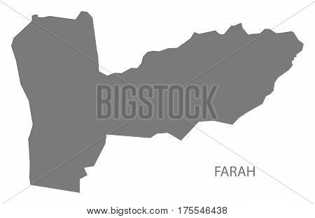 Farah Afghanistan map grey illustration silhouette province