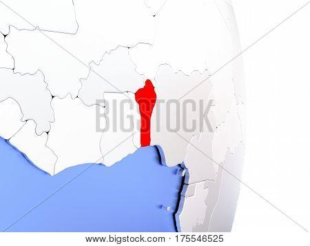 Benin On Elegant Modern 3D Globe