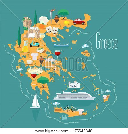 Map of Greece with islands vector illustration design. Icons with Greek landmarks acropolis and food. Explore Greece concept image