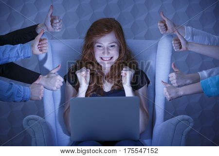 Excited Girl With Laptop